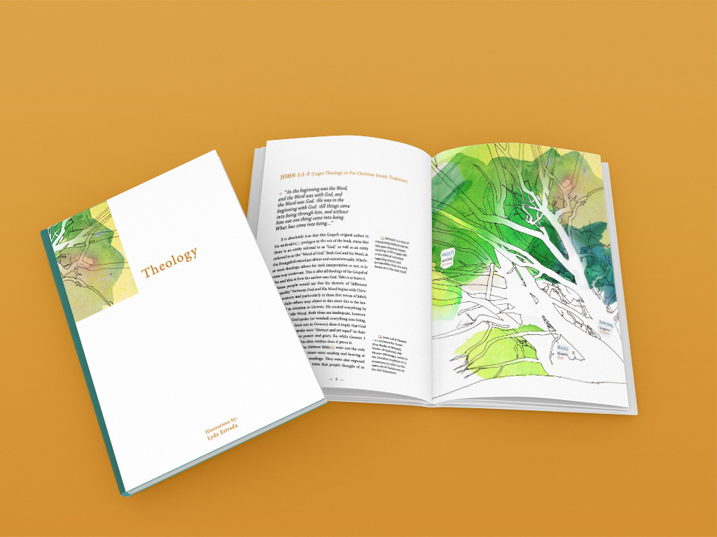 Theology book cover and illustrations